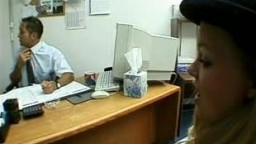 Blonde teen in heat banged in the office