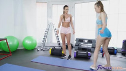 FitnessRooms - Cristal Caitlin Lina Mercury Buttplug workout and anal threesome